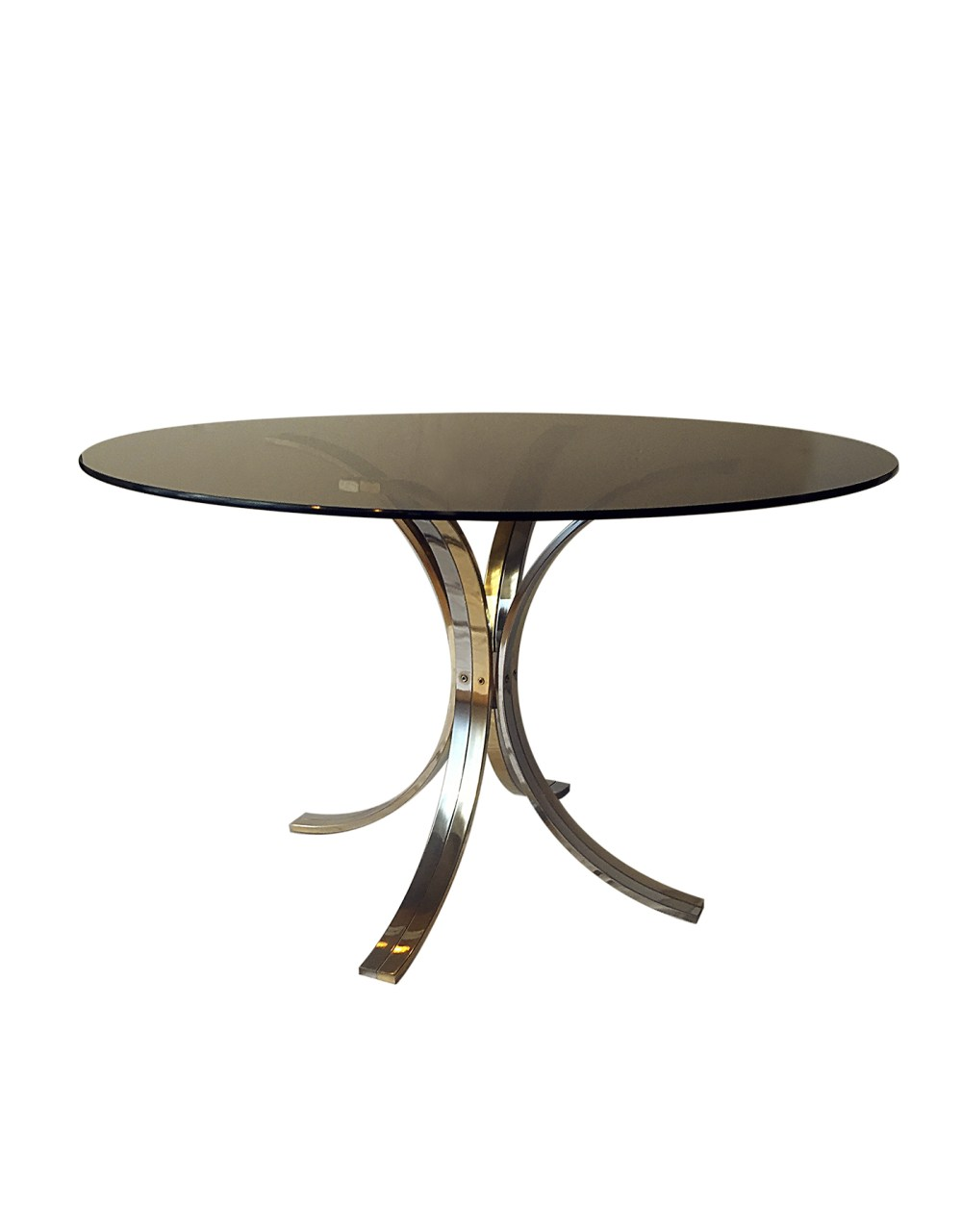 table de salon vintage romeo rega 1970 chrome et laiton