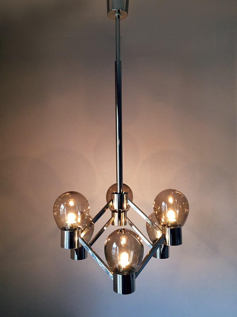 lustre suspension vintage en forme d'atome, chrome et verres fumés 1960