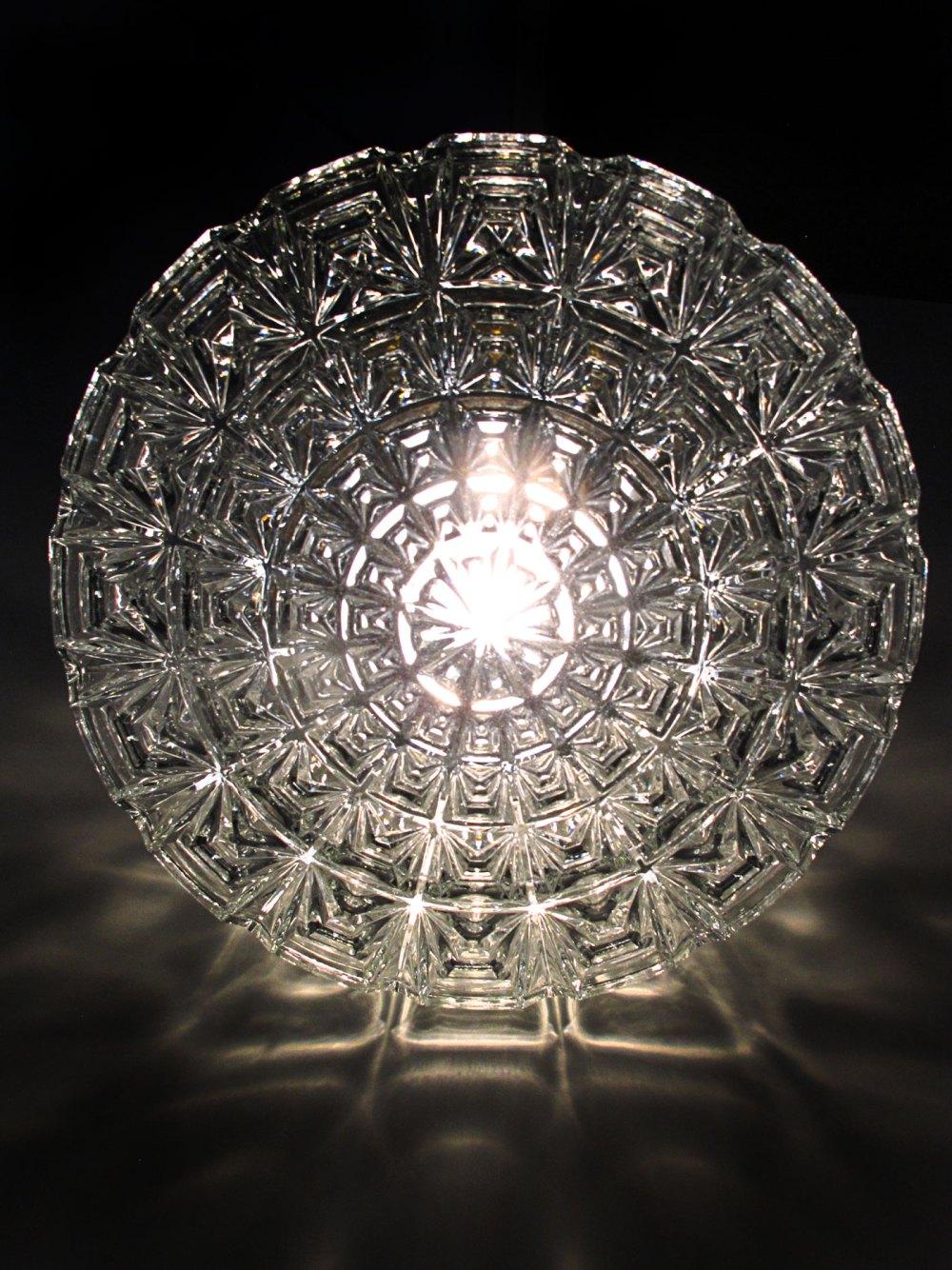 Plafonnier Glashütte Limburg vintage en laiton et verre effet diamant 1960. Un éditeur de référence du design allemand. En vente chez ltgmood galerie de luminaires vintage à Paris