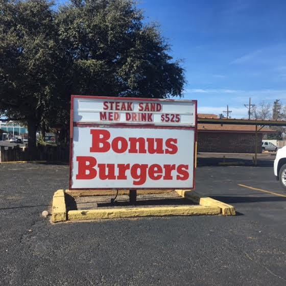 Bonus Burgers Menu