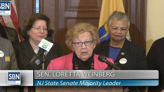 NJ Senate Majority Leader Loretta Weinberg speaks at Affordable Care Act press conference February 25 in Trenton.