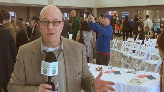 Steve Lubetkin reporting at the Hispanic outreach event in Union City, NJ.