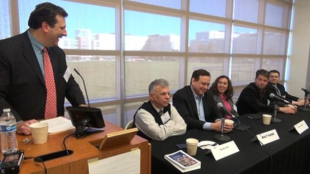 "At the April 5, 2016 ""Meet the Media"" Panel held by PRSA New Jersey and the NJ chapter of the Society of Professional Journalists, moderator Ken Hunter, APR, left, jokes with media panelists (from left): David Levitt, Bloomberg News; Walt Kane, News 12 New Jersey; •Gema de las Heras, Univision; Tom Bergeron, NJBIZ Magazine; and Josh Cornfield, Associated Press"