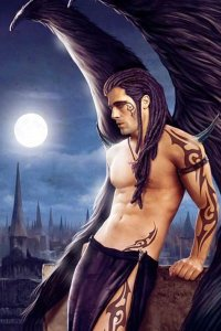 A man with long black hair, a bare chest and large black wings leans against a rooftop railing