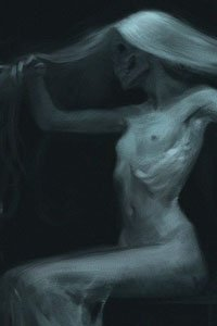 An emaciated, ghostly pale woman sits nude, fingering her long white hair.