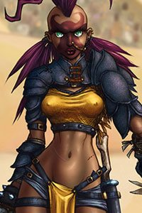 A slender woman wearing partial armor and a purple mohawk.