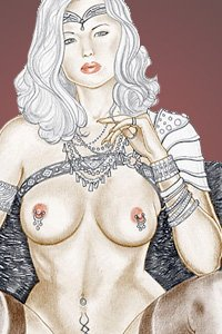 A white-haired woman sits nude, fingering her ornate necklace.
