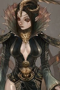 A young elf woman with long black hair and a dark, revealing dress.