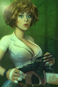A buxom woman with short brown hair wields a chainsaw.