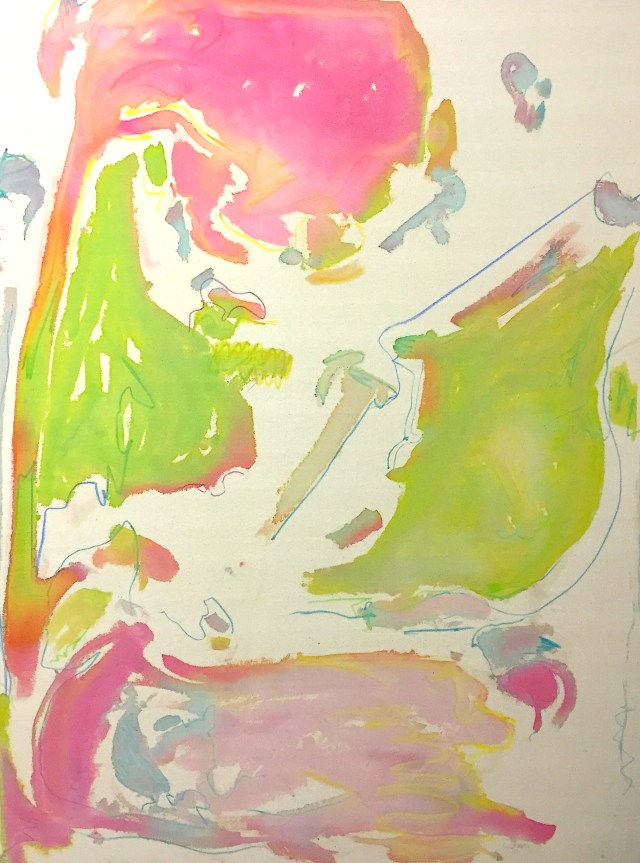 Bow Paintings 7, watercolour ink and crayon on unprimed canvas, 125 x 165cm