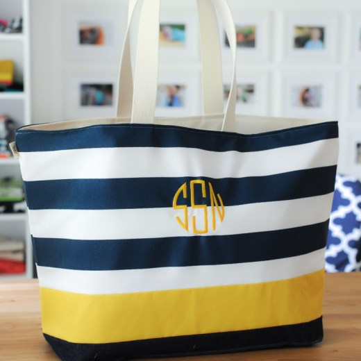 Extra Large Tote Bag with Circle Monogram