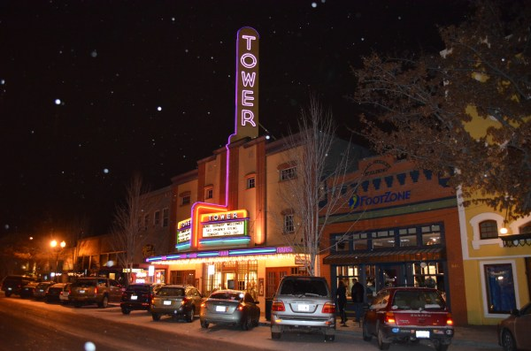 The retro Tower Theater is an iconic landmark in downtown Bend, day or night.