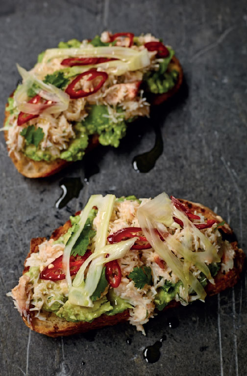 Crab on toast with smashed avocado, chilli and fennel
