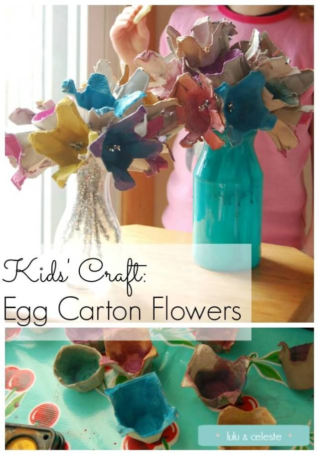 Mini tutorial on making egg carton flowers with preschoolers