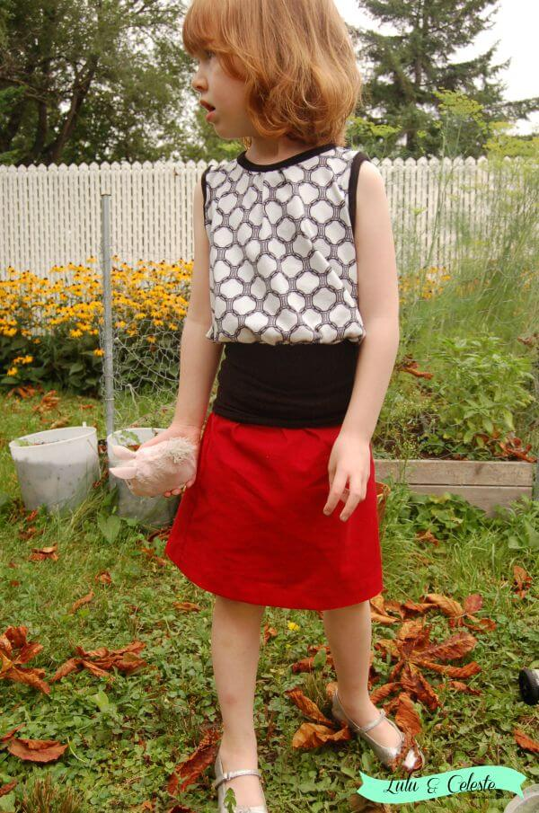 Skirt view from Panelled Sunsuit pattern from Designs by Call Ajaire