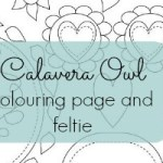 Calavera Owl Colouring page and feltie