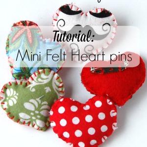 Mini Felt Heart pin tutorial by Lulu & Celeste