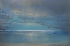 """""""Moon Shadows"""" 24x26 in. acrylic, sand on wood panel"""