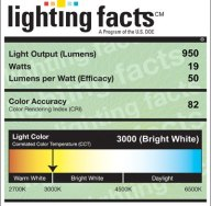 Lighting Facts label for a PAR38-90-NF