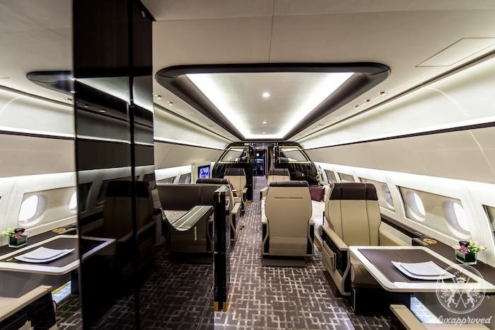 This acj319 cabin is inspired by art deco interiors on for Art deco train interior