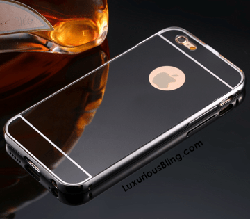 Black Metal Frame iPhone Case with removable Mirror Back for iPhone 6 / 6 Plus