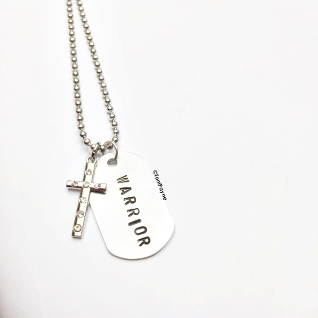 Warrior Custom Name Hand Stamped Dog Tag Necklace with Crucifix