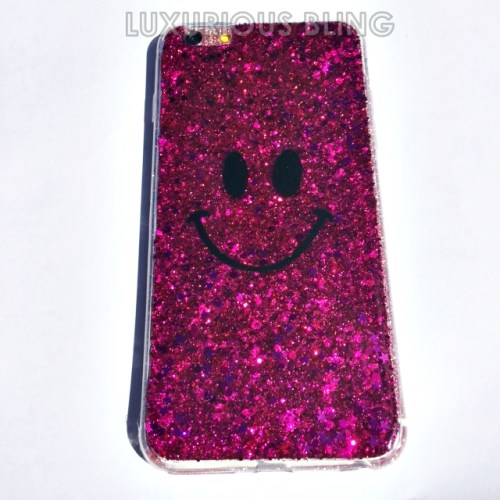 PINK Sparkly Glitter Smiley Face iPhone 6 Case 3