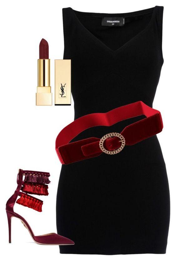 Vibrant Red Black Dress