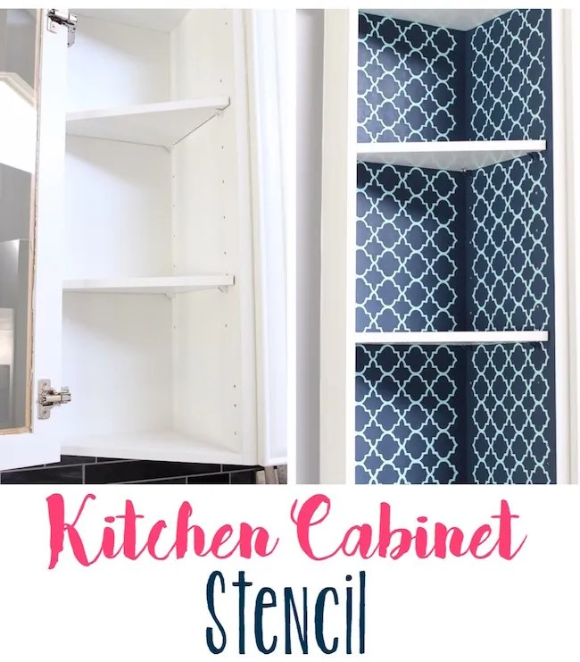 Exposed Kitchen Cabinet Stenciling
