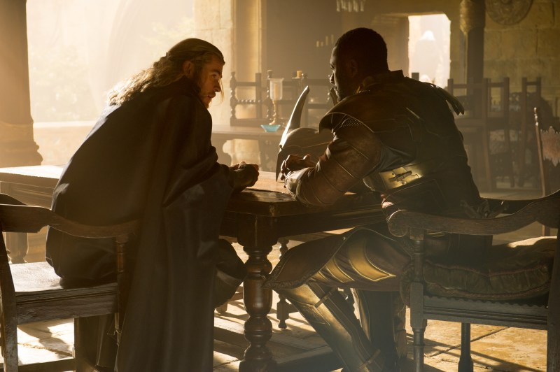 Thor The Dark World - Chris Hemsworth as Thor and Idris Elba as Heimdall