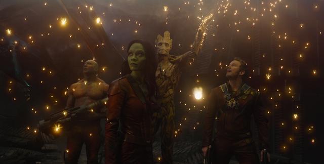 Marvel Drax the Destroyer (Dave Bautista), Gamora (Zoe Saldana), Groot (voiced by Vin Diesel) and Peter Quill/Star-Lord (Chris Pratt).