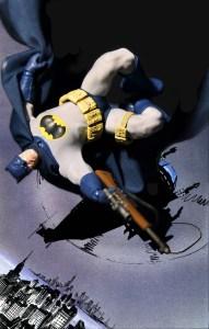 Mezco Dark Knight Returns Batman blue figure with sniper rifle falling