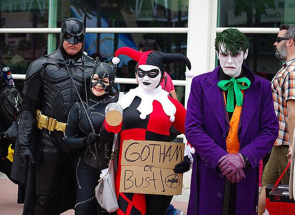 SDCC2014 cosplay - Batman, Catwoman, Harley and Joker