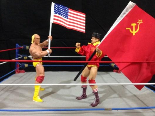 Hulk Hogan Defining Moments figure - dueling flags with Nikolai Volkoff