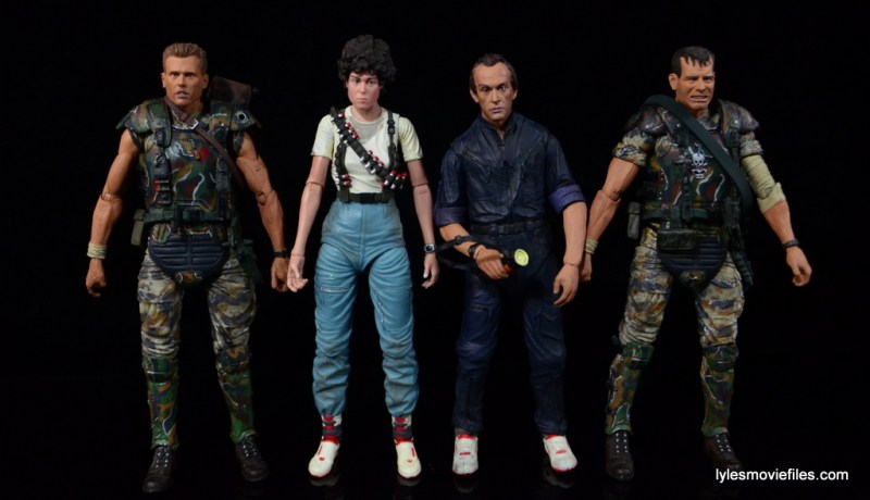 NECA Aliens Ellen Ripley figure - scale with Hicks, Bishop and Hudson