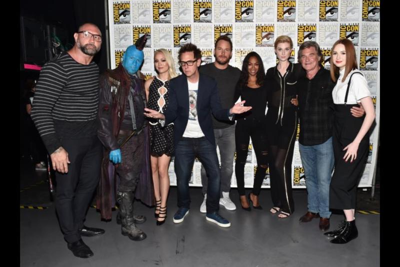 Guardians of the Galaxy vol. 2 cast - Dave Bautista, Michael Rooker, James Gunn, Chris Pratt, Zoe Saldana, Elizabeth Dibicki, Kurt Russell and Karen Gillam