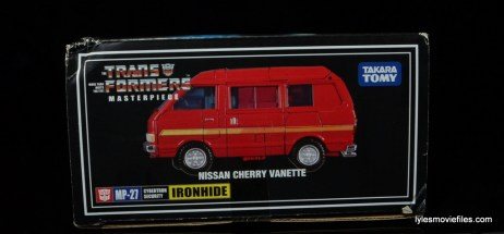 Transformers Masterpiece Ironhide figure review -package side