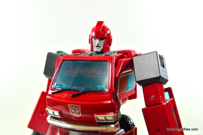 Transformers Masterpiece Ironhide figure review - wide pose with other faceplate