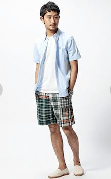 チェック柄のひざ上丈のショートパンツ×水色のシャツ×白のインナー×エスパードリーユ