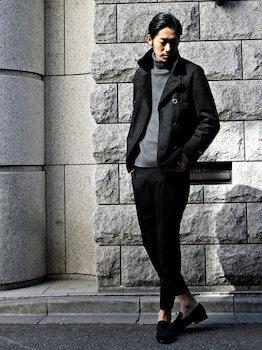 ユニクロのタートルネックの着こなし方②Pコートと合わせる