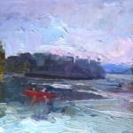 Canoeing on City Lake 9x12