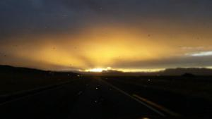 The sun setting from the dash of our car as we drove toward Bozeman, MT a few days ago.