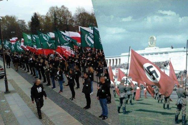 Połaczenie dwóch zdjęć - na jednym członkowie ONR stoją z flagami ONR i flagami Polski, na drugim żołnierze niemieccy stoją z flagami ze swastyką.