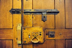Keyhole and old-fashioned lock