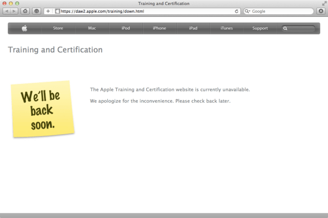 Apple's Training and Certification page down