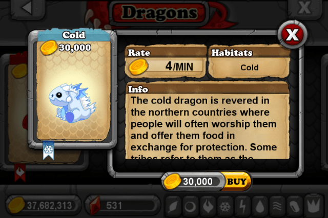 DragonVale COLD Dragon