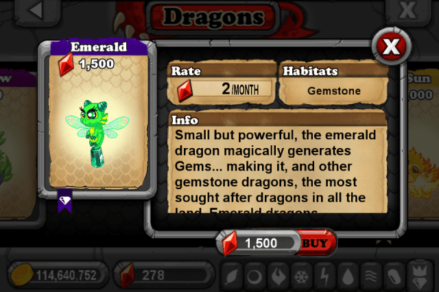 DragonVale EMERALD Dragon