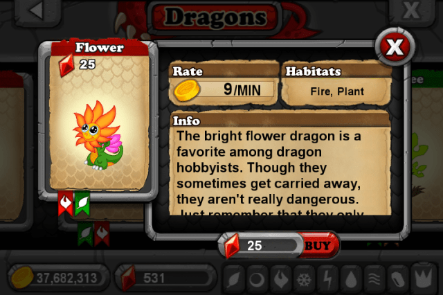 DragonVale FLOWER Dragon