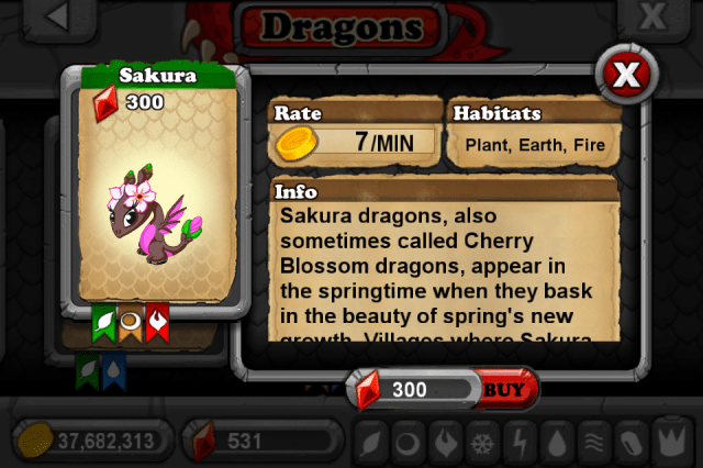 DragonVale SAKURA Dragon