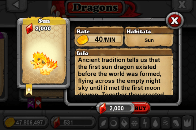 DragonVale SUN Dragon